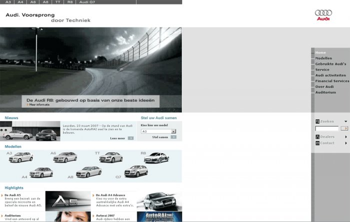 Home page, screenshot