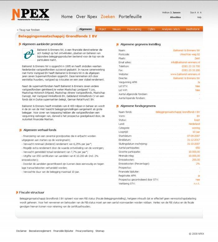 Fund Information page