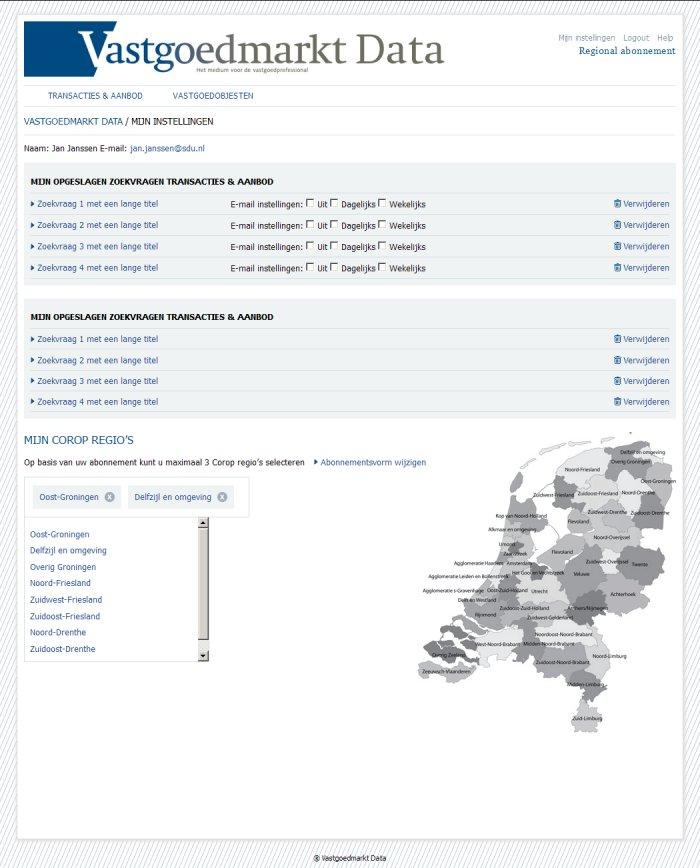 Registred User Setup page