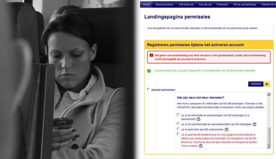 Website Nederlandse Spoorwegen / Dutch Railway